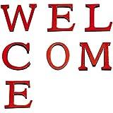 CREATCABIN Letrero de Bienvenida Letras Acrílico Decorativo 3D Espejo Pegatinas de Pared para Sala de Estar Dormitorio Cocina Decoración de Pared (Rojo)