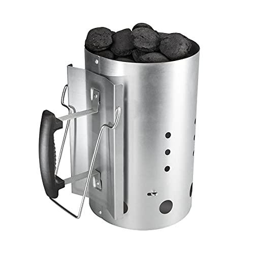 ROSMARINO Ciminiera di Accensione Barbecue 27cm, Maniglia di sicurezza, Accendifuoco a carbone di legna e bricchette di carbone, capacità 3kg, per barbecue all'aperto
