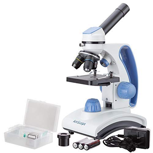 AmScope M160C-2L-PB10 Cordless Compound Monocular Microscope, WF10x and WF25x Eyepieces, 40x-1000x Magnification, Upper and Lower LED Illumination with Rheostat, Brightfield, Single-Lens Condenser, Coaxial Coarse and Fine Focus, Plain Stage, 110V or Battery-Powered, with Handle and Arched Base
