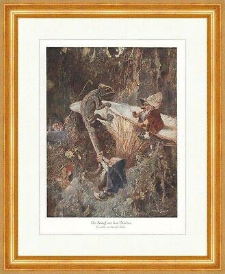 Kunstdruck Der Kampf mit dem Drachen Heinrich Schlitt Zwerge Wald Pilz ED 0306 Gerahmt
