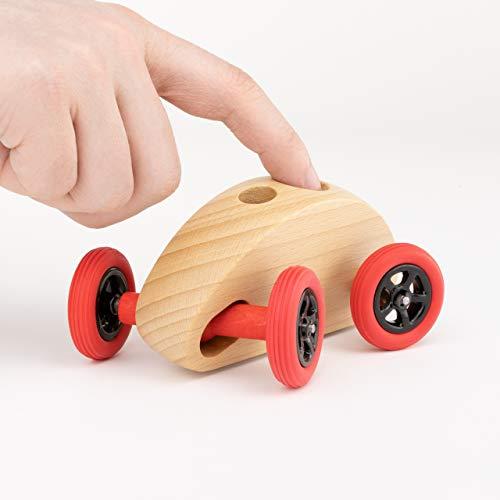 Trihorse Fingercar Spielzeugauto aus Holz - Schult die Feinmotorik - Holzspielzeug für Kinder & Erwachsene - Premium Holzfahrzeug (Fingercar, Natur)