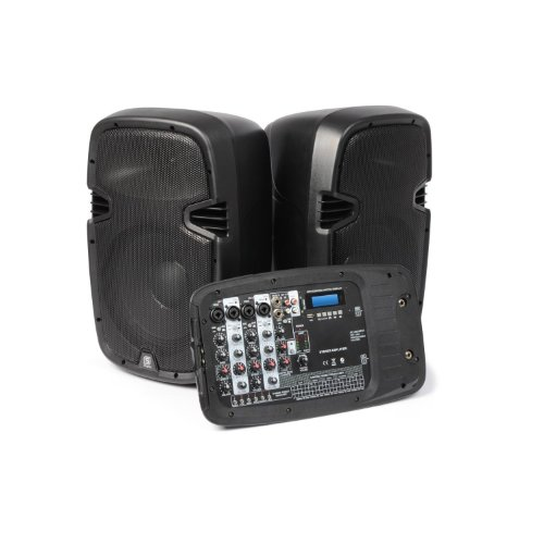 Skytec PSS-300 mobile PA-Anlage mit DJ-Mixer (AUX-USB-SD-Eingang, 300 Watt Leistung, Tragegriff und Standard-Stativflansch)