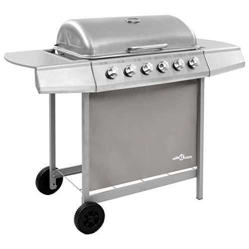 vidaXL Gas Barbecue with 6 Burners Grill Grill Grill Cooking Camping Hiking Picnics Garden Outdoor Patio Terrace Silver