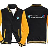 MYJOYSUE Chaqueta de béisbol para Hombre Uniforme con Estampado de for IIM Motorsport BMW Solapa Retro Bloque de Color Abrigo Deportivo para Bicicleta Sudadera de Manga Larga para Exteriores
