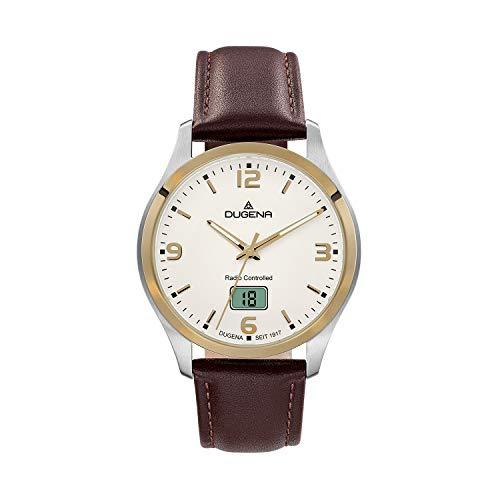 DUGENA Tresor 4460862 - Reloj de pulsera para hombre (cuarzo, esfera blanca, caja de acero inoxidable, cristal de zafiro, correa de piel, hebilla, 10 bares)