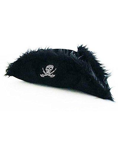 JapanAttitude Tricorne Noir avec Logo Pirate Adulte