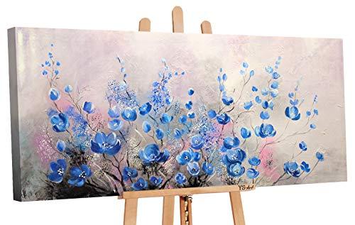 YS-Art | Acryl Gemälde Komplimente | Handgemalte Leinwand Bilder | 115x50cm | Wandbild Acrylgemälde | Moderne Kunst | Leinwand | Unikat | Blau