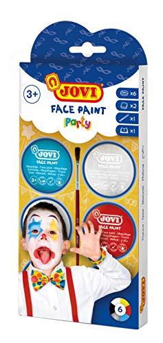 Jovi Creme-Make-Up Kinderschminke Set Party, weiche Textur, leicht aufzutragen, auf Ölbasis, 6 Dosen je 8 ml, inkl. 1 Pinsel und 2 Schwämme