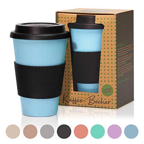 bambuswald©Taza reutilizable de bambú 450 ml|Taza de café para llevar - con tapa de silicona | Vaso sostenible y rellenable: ideal para café, té y otras bebidas- en diferentes colores