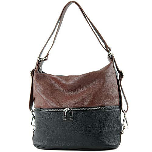 modamoda de - T189 - ital. Damen Rucksack Tasche 2in1 aus Leder, Farbe:Schwarz/Braun