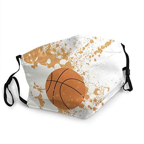 Mundschutz Basketball Orange Splash Gesichtsschutz wiederverwendbar, waschbares Tuch, Gesichtsschutz, Mundschutz Gesichtsschutz