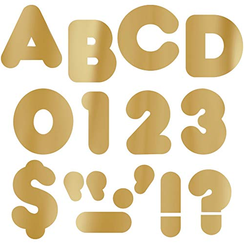 """Gold Foil 4"""" Uppercase Casual Font Punch-Out Ready Letters by TREND enterprises, Inc.; 72 ct."""