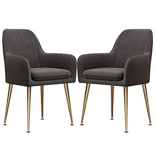 2pcs Dining Chairs Back Support with Arms Rest Living Room Chairs Sturdy Metal Legs Living Room/Cafe/Vanity (Color : Dark Gray)