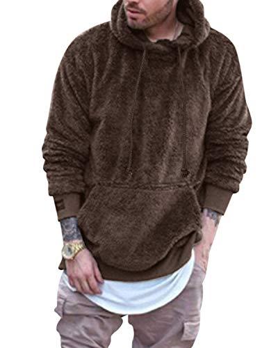MODCHOK Men Teddy Bear Hooded Jacket Fuzzy Sherpa Pullover Hoodie Fleece Sweatshirts Kangaroo Pocket Outwear Coffee S