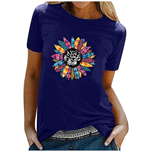 Dasongff Blusa de mujer elegante y sexy, cuello redondo, camiseta de verano suelta, camiseta básica, túnica de manga corta, camiseta informal para mujer