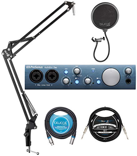 PreSonus AudioBox iTwo USB Audio Interface for Windows, Mac and iPad Bundle with Studio One Artist, Blucoil Boom Arm Plus Pop Filter, 10-FT Balanced XLR Cable, and 10' Straight Instrument Cable (1/4')