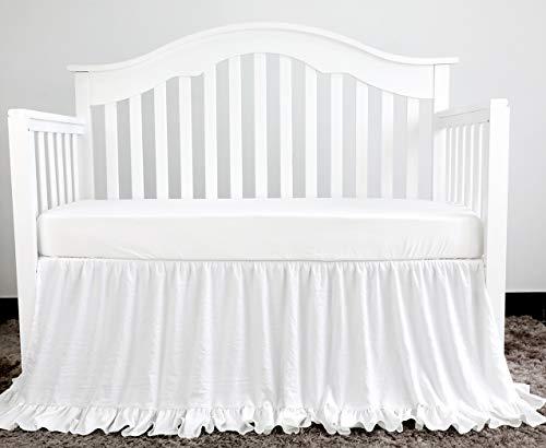 Sahaler Crib Ruffle Skirt Baby Girl Boys Nursery Bedding Dust Ruffle (White)