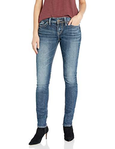 Silver Jeans Co. Damen Elyse Relaxed Mid-Rise Skinny - Blau - 29W x 31L