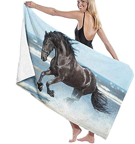 Telo Mare Microfibra,Cavallo Frisone Nero Asciugamano Da Spiaggia Leggero,Telo Da Bagno Grande,Perfetto Per Gli Sport Di Fitness,Nuoto,Viaggi In Hotel Per Famiglie