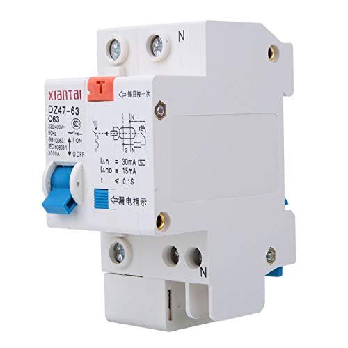 LANTRO JS - Disyuntor en miniatura de CC de bajo voltaje DZ47LE 1P 230V-400V 50HZ 60A 4KA C Tipo Interruptor de aire de protección de disyuntor