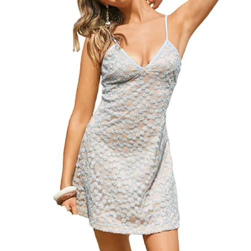 Damen Sommer Blumen Bestickt Freizeitkleid V-Ausschnitt Ärmelloses, Elegantes Swing-Kleid Blau XL