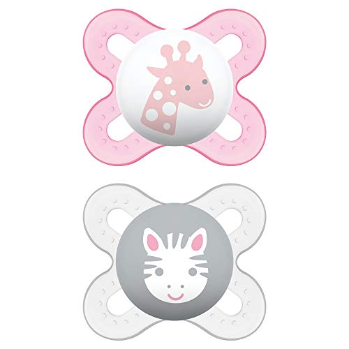 MAM Start Newborn Pacifiers (2 pack, 1 Sterilizing Pacifier Case), Newborn Baby Girl Pacifiers, Best Pacifier for Breastfed Babies, Self Sterilizing Baby Pacifier Case
