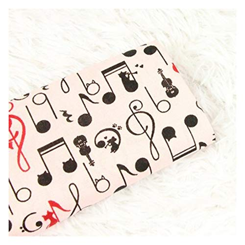 ATEYC Thicken Cotton Fabric with Musical Note Cat Print Handmade DIY Bag Garment Dress Material, 100% Cotton Textile Tissue (Color : Light pink)