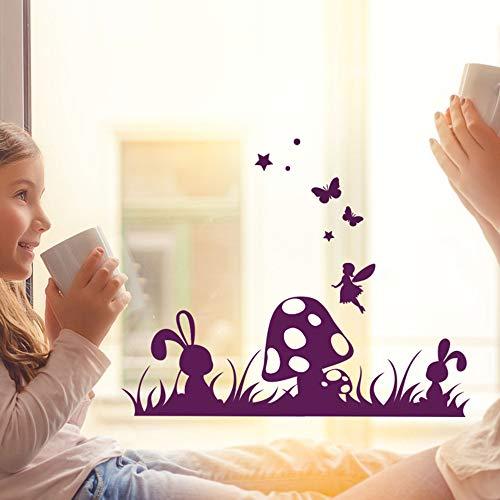 Fensterbild Wandtattoo Wiese Pilz Hase Schmetterling Fensteraufkleber Wandbild M2098 - ausgewählte Farbe: *pink* ausgewählte Größe: *L - 50cm breit x 38cm hoch*
