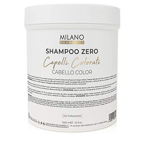 Milano Champú Zero Cabello Color 1000 ml Profesional sin sulfatos ni parabeno para cabellos coloreados. PH 3.5 con extracto de proteína de cultivo cannabis sativa orgánica de italia.