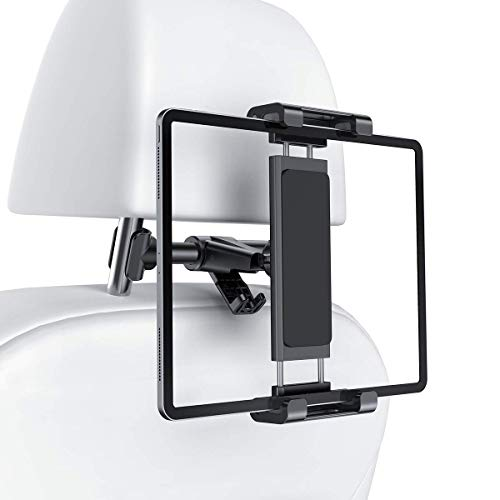 Car Headrest Tablet Mount Holder, iPad Car Mount Bakel Headrest Tablet Holder Compatible with iPad Pro 12.9/11, Phones/Tablets/Switch 4.7'-12.9', Headrest Posts Width 4.7in-5.9in Black