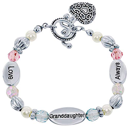 Granddaughter Gift Stretch Heart Charm Bracelet for Girls Gift Boxed with Sentimental Card 'Love Granddaughter Always' Silvertone Beads & Synthetic Pearls
