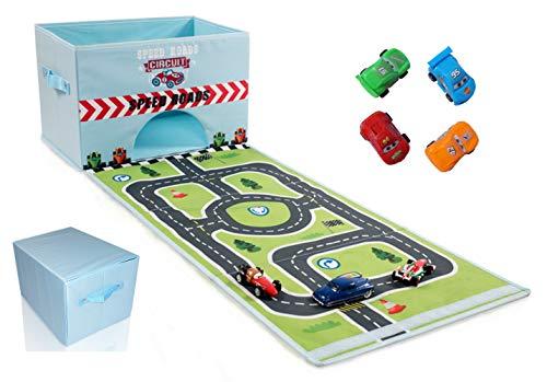 Zusammenklappbarer Spielzeugbehälter mit Rennstrecke und 4 Spielzeugautos, leicht zusammenklappbarer Spielzeug-Organizer, einfach zu tragende Spielzeug-Box mit Griffen und Klettverschluss - in Blau