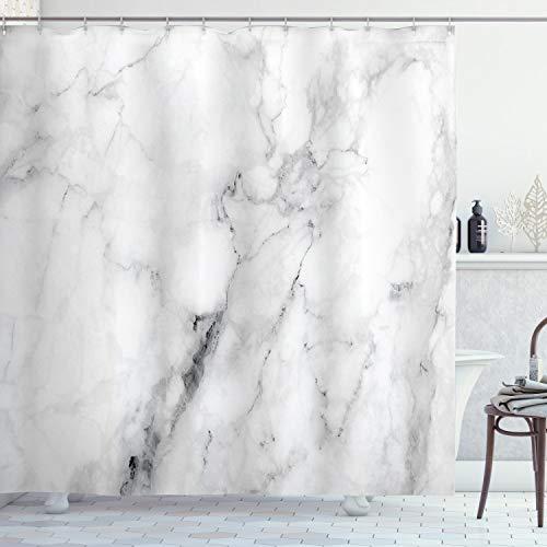 ABAKUHAUS Marmor Duschvorhang, Cracked Linien künstlerisch, mit 12 Ringe Set Wasserdicht Stielvoll Modern Farbfest & Schimmel Resistent, 175x220 cm, Weiß Grau Sand