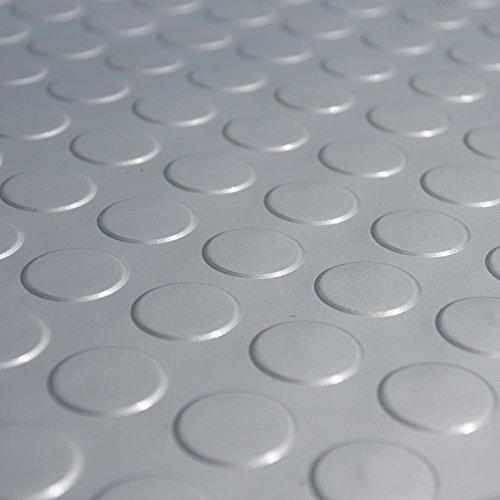 Rubber-Cal Coin Grip Metallic PVC Flooring, Silver, 2.5mm x 4' x 9'