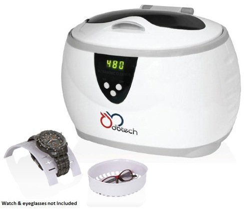 DB-Tech Digital Ultrasonic Jewelry Cleaner with a 17-ounce Stainless Steel Cleaning Tank, Jewelry Basket, Watch Holder, 5 Individual Cycles & Auto Shut-off - Generates 42,000 Ultrasonic Energy Waves Per Second