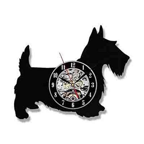 SKYTY Reloj de pared de vinilo para mascotas perro retro disco de vinilo 3D pared amantes de las mascotas regalo decoración del hogar 1_con luz LED 12 pulgadas