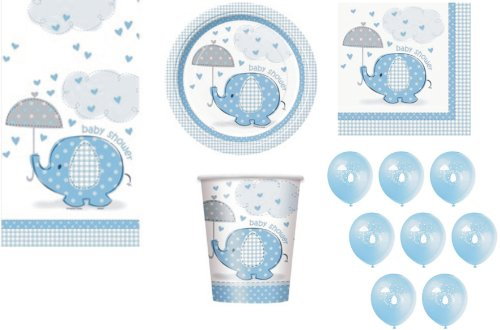 Babyparty Party Zubehör Umbrellaphants Design Elefanten Blau für Jungen Servietten, Teller, Becher, Tischdecke, Ballons, 57 Artikel