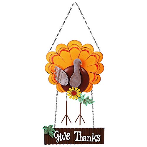 Lulu Home Thanksgiving Decoration, Metal Turkey Hanging Decor with Give Thanks Sign, Fall Front Door Welcome sign, Indoor Outdoor Durable Turkey Decorative, Attractive Window Ornament, Vintage Thanksgiving Decorations