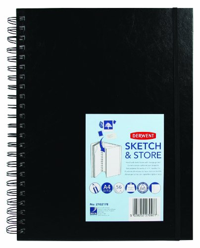 Derwent Sketch and Store Sketch Book, A4, Portrait, 8.27 x 11.69 Inches Page Size, Wirebound, 56 Pages (2102178), White