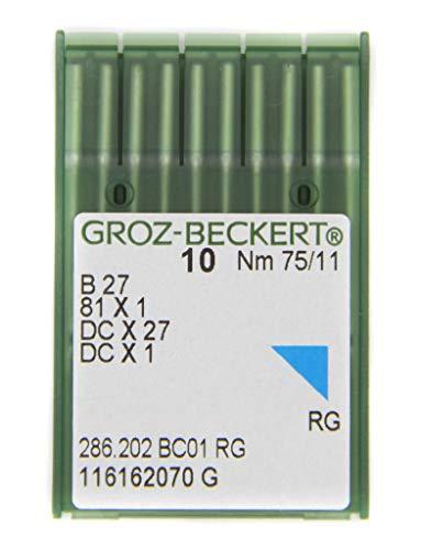 GROZ-BECKERT Paquete de 10 agujas de coser B 27 con pistón redondo y punta redonda para máquinas de coser industriales Overlock (Nm, 75/11)