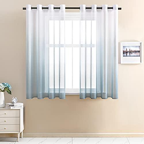 CUTEWIND CUTWIND Farbverlauf Vorhang Weiß-Navy Voile Gardinen Transparent mit Ösen Ösenschal Dekoschal Fensterschal für Wohnzimmer Schlafzimmer 140cm x 160cm (B x H) 2er Set