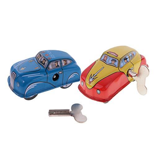 Fenteer 2pcs Mini Wind-up Taxi Auto & Polizeiwagen Uhrwerk Blechspielzeug Sammlerstück Spielzeug