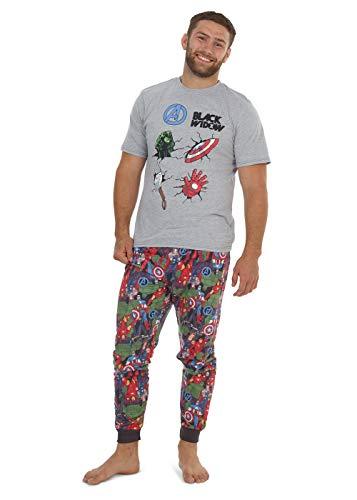 Marvel Conjunto de Pijamas para Hombres Black Widow | Ropa de Dormir de Manga Corta Algodón | Pijama de Hombre Loungewear con Camiseta y Pantalones Cómodo (XL)