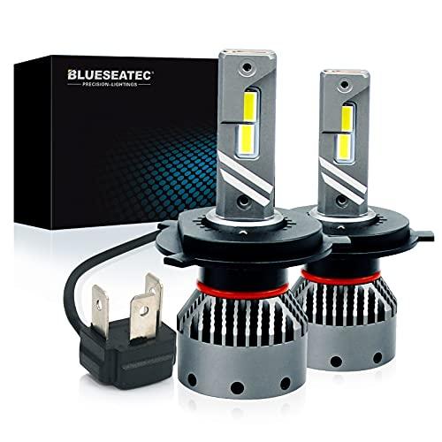 BLUESEATEC H4 LEDヘッドライト 爆光 H4 Hi Lo ledバルブ 20000LM 50W 超高輝度 正規日本製CSPチップ 車検対応 キャンセラー内蔵 99%車種対応 12V 24v(ハイブリッド車・EV車対応) 定電流回路搭載 高速回転冷却ファン付き 静音 ラジオ干渉なし 0.1秒瞬間起動 ホワイト 2個入 5年保証正規品専門店