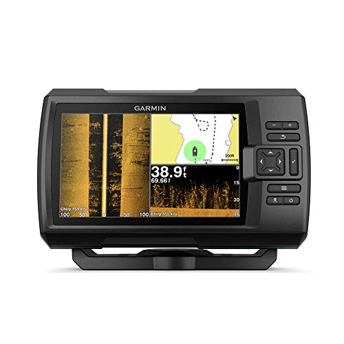 """Garmin Striker 7SV with Transducer, 7"""" GPS Fishfinder with Chirp Traditional, ClearVu and SideVu Scanning Sonar Transducer and Built in Quickdraw Contours Mapping Software (Renewed)"""