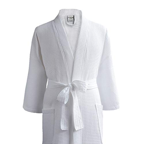 LUXA HOUSE - Waffle Bathrobe - 100% Egyptian Cotton - Unisex/One Size Fits Most - White - One Size Fits Most