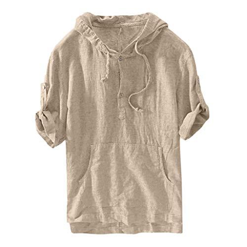 Xmiral Herren Gestreifte Lose Kurzhülse mit Kapuze Hemd Retro Shirts Oberteile Jungen Kurzarmshirt Hoodie-Sweatshirt Kurzarm Basic Männer Kapuzenshirt(Khaki,L)