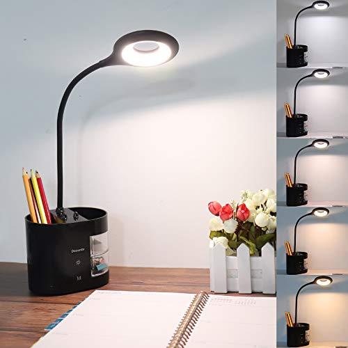 Schreibtischlampe LED, Deaunbr Kinder Leselampe USB Lampe Schreibtischlampen 28 LEDs Desk Lamp 5 Farbtemperatur x 5 Helligkeitsstufen Dimmbar Leselicht mit Stifthalter, Telefonständer & Aufbewahrung