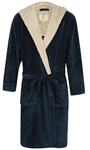 John Christian Robe de Chambre en Polaire Doux à Capuche, Chaud, Bleu/Gris Clair - Homme (XL)