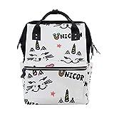 WowPrint - Bolsa para pañales con diseño de gato y unicornio, gran capacidad, organizador de viaje multifunción para el cuidado del bebé